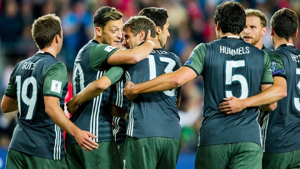 Germany began World Cup defence with a 3-0 win in Norway as the European Qualifiers also brought joy for five-goal Scotland and England manager Allardyce