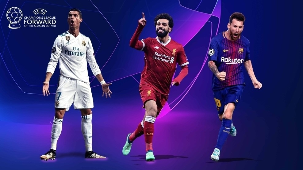 Image result for Mo Salah up against Lionel Messi and Cristiano Ronaldo for Champions League best forward award with Kevin De Bruyne listed for midfielder prize