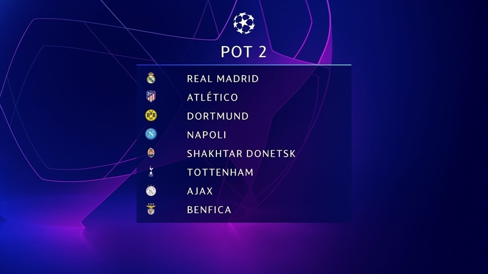 Champions League Group Stage Draw Pot 2 Uefa Champions