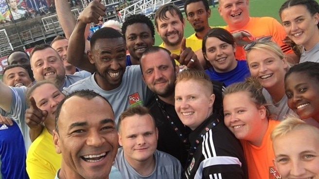 Football legend Cafu at the Homeless World Cup game at the Champions Festival