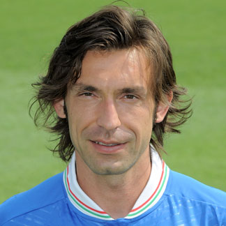 Andrea Pirlo sporting a Jim Morrison hairstyle for his medium length hair at the Euro 2012