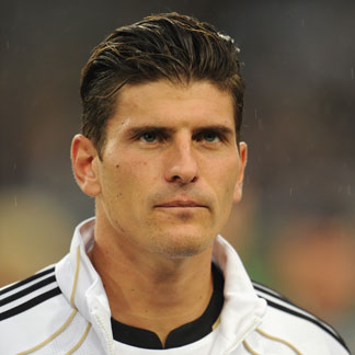 Mario Gomez with his hair side parted in a cool hairstyle for the Euro 2012