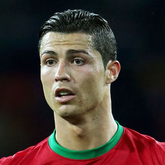 Cristiano Ronaldo with his side swept hairstyle during the UEFA Euro 2012